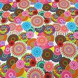 Stoff Meterware Baumwolle Digitaldruck Mandala groß bunt