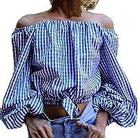 Blusas Mujer, ASHOP Casual Enrejado Fuera de Shouder Sudaderas Moda Elegantes Ropa en Oferta Camisetas Manga Larga Tops de Fiesta Abrigos Invierno de Mujer Otoño