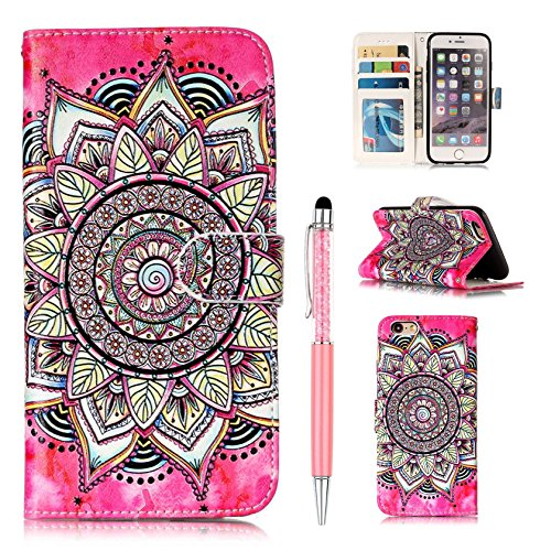 Custodia Pelle per iPhone 6 Plus,per iPhone 6S Plus Cover, ZCRO Custodia Portafoglio Flip del Cuoio Libro in Pelle Sottile Disegni Wallet Colorate Modello Antiurto Copertura Case con Slot per Porta Ca Fiore di lusso