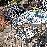Lazy Susan - Table ronde 90 cm MIA et 2 chaises de jardin - Salon de jardin en aluminium moulé, Blanc (chaises APRIL)...
