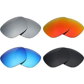 MRY 4 Pares polarizadas Lentes de Recambio para Arnette Fire Drill AN4143 Sunglasses-Stealth Negro/Fuego Rojo/Hielo Azul/Plata Titanio
