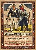 Vintage Francese Ww11914-18-Propaganda Gala per i soldati francesi a la comédie français 250gsm Lucido Art poster A3di riproduzione