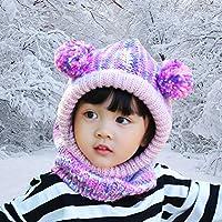 FUYAO Little Girls passamontagna Toddler Kids Winter Warm crochet cappello  scaldacollo in pile per outdoor sci snowboard giocare campeggio 0a6c12b38798