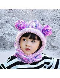 FUYAO Petites Filles Passe-Montagne pour Tout-Petits Enfants d hiver  Polaire Chaud Crochet Chapeau Cache-Cou pour extérieur Ski Snowboard… feb1c27cdbd