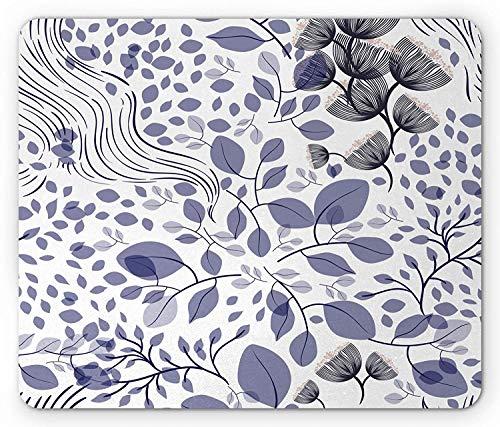 Botanical Mouse Pad, Spring Summer Leaves Flowers Flourishing Garden Foliage Seasonal Plants, Standard Size Rectangle Non-Slip Rubber Mousepad, Purple Grey Black 9.8 X 11.8 inch