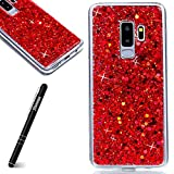 Coque Samsung Galaxy S9 Plus,Etui Samsung Galaxy S9 Plus [avec un Stylo Tactile],Slynmax Luxe Mode Cool Mince Étui en silicone souple Paillette Strass Brillante Bling Bling Glitter de Luxe Flexible Plein-Corps TPU Résistant à la Goutte Bumper Housse Etui de Protection [Ultra Fin] [Anti Choc] pour Samsung Galaxy S9 Plus - Rouge