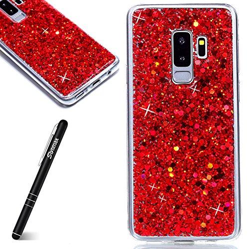 Coque Samsung Galaxy S9 Plus,Etui Samsung Galaxy S9 Plus [avec un Stylo Tactile],Slynmax Luxe Mode Cool Mince Étui en silicone souple Paillette Strass Brillante Bling Bling Glitter de Luxe Flexible Plein-Corps TPU Résistant à la Goutte Bumper Housse Etui de Protection [Ultra Fin] [Anti Choc] pour Samsung Galaxy S9 Plus - Rouge