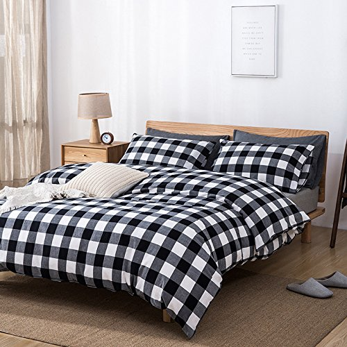 CSSJTZY Bettwäsche Unbedruckt Gewaschen Baumwolle Vier Sätze Baumwolle Bettbezug Bettwäsche Einfarbig Kissenbezug, Schwarz-Weiß-Schärpe, 1,8-Bett-Absatz (Weiß-bett-satz Und Schwarz)