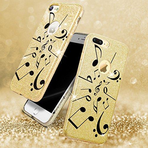 EGO ® Hülle Glitzer Schutzhülle für Samsung A310 Galaxy A3 2016, Queen Gold Back Case Bumper Glänzend Transparente TPU Bling Weiche Glamour Handy Cover Lipgloss Note Gold