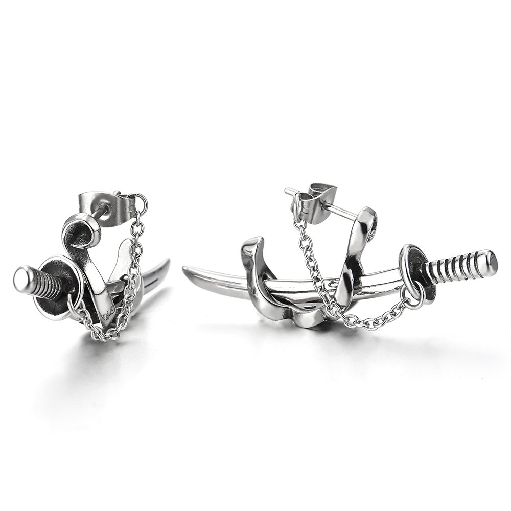 2pcs Stainless Steel Chain Sword Scabbard Stud Earrings for Man for Boys
