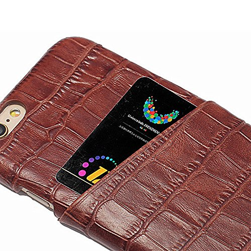 Coque iPhone 6 Levanpro Haute Qualité Bovins Cacher Alligator Grain en Cuir Housse Etui pour Phone 6 / iPhone 6s (Brun) Brun