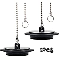 2Pcs Drain Stopper, 43mm Universal Bath Plug with Long Metal Ball Chain and Hanging Ring, Chrome & Rubber Sink Plug…