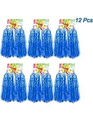 Creatiees 12pz Premio Cheerleading Pom Pom, 6 Coppie PON-PON Cheerleading Pompon Sport Danza Allegria Pompon di Plastica per Gli Sport Saluti Palla Danza (Blu)
