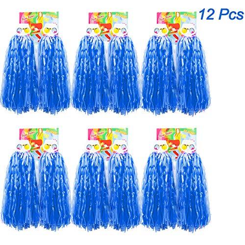 Cheerleader Spirit Kostüm - Creatiees 1 Dutzend Prämie Cheerleading Pom Poms, 12 Stücke Kunststoff Cheerleader Pompons Handblumen mit Ring Design zum Sport Cheers Ball Dance Kostüm Nacht Party Team Spirit (Blau)