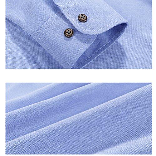 Zhhlaixing Moda Mens Long Sleeve Shirts Formal Dress Shirts Light Blue