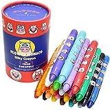 Lebze Wachsmalstifte für Kleinkinde, 24 Farben, Silky Crayons Primärfarben,ungiftig, sicher für Kinder Flower Monaco