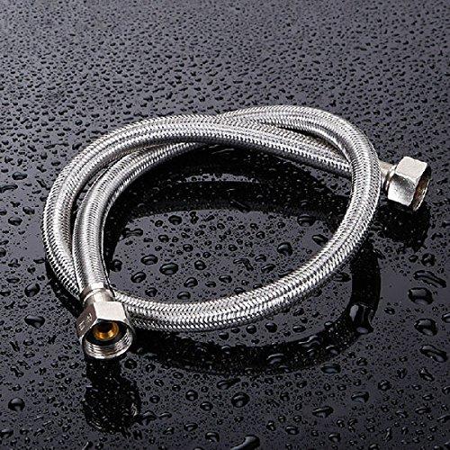 Tutoy Edelstahl Weben Wasserversorgung Schlauch Badezimmer Doppel-Kopf-Rohr-100Cm