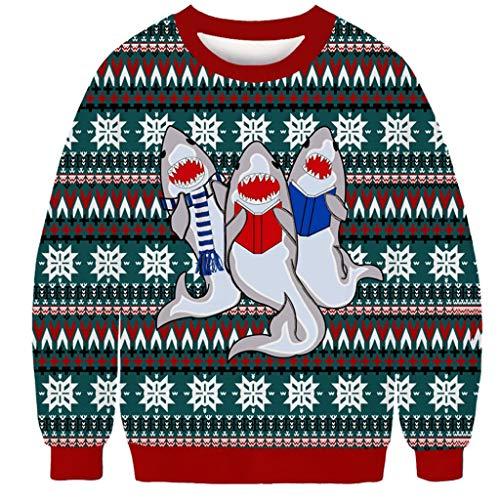 Jujiaclothing Maglione Uomo Invernale Magliette di Natale Maglione Babbo Natale 3D Stampa Casual T-Shirt Pullover Scollo Rotondo con Colori a Contrasto Uomo Maglioni Uomo Collo Alto Felpa Uomo