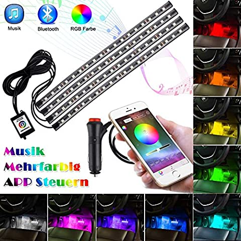 Openuye 4pcs 72 LEDs RGB Lampe Intérieur de Voitures Bluetooth APP Contrôleur Ruban Bande Néons Lumière Kit Musique Contrôle Multicolor pour Décoration Atmosphère Auto