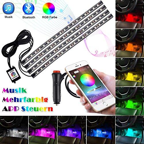 Openuye Auto Innenbeleuchtung Innenraum Licht Atmosphäre Lichter Strip 72 LED Wasserdicht Glow Neon Dekoration Lampe, APP Bluetooth Controller mit Musik Fernbedienung