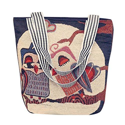 Damen Handtaschen, Huhu833 Damen Mädchen Segeltuch Karikatur Handtaschen Schulter Bote Tasche Damen Schultaschen Taschen Taschen H