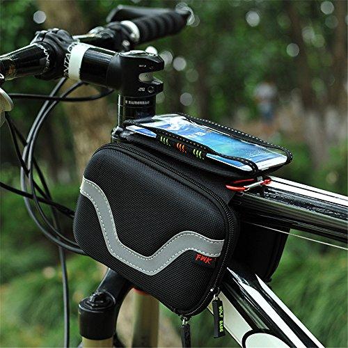 Lmeno Wasserdicht Fahrrad Tasche Radfahren Rahmentasche Triangl Cube Bag Steuerrohr Beutel-Kasten Oberrohr Bike Telefonbeutel-Halter Fahrrad Frontseiten-Schlauch Doppel Pannier Saddle Bag Pouch für iPhone 6 5s / 5c / 5 iphone 4/4 und andere Handy bis zu 5,5 Zoll
