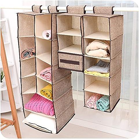 baiyi Home Hanging Clothes Storage Box (5 Shelving Units) Friendly Closet Cubby, Sweater & Handbag Organizer - Keep Your Wardrobe Clean & Tidy. Easy Mount
