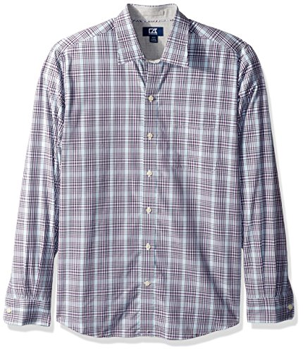 Cutter & Buck Men's Big and Tall Long Sleeve Non-Iron Plaid Spread Collar Dress Shirt, Majesty Hoyt Plaid, XLT (Big And Tall Baumwolle Kleid Shirt)