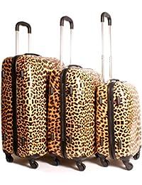 2408maletín de leopardo marrón negro Animal diseño de impresión juego de 3maletas–Super ligera 4ruedas–equipaje de Funky–Juego de carcasa rígida de plástico