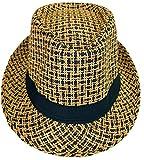 CLUB CUBANA Cappelli Unisex, Cappello a tese Hawaiano, Cappello di Feltro, Stile Panama, Estate Spiaggia Sole Jazz, Costume Hawaiano, Cappello da Festa Marrone Nero