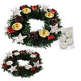 Annastore Adventskranz für Teelichter, fertig dekoriert Ø 30 cm inkl. 4 Teelichtern