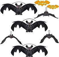 Halloween Dekoration Fledermäuse 6 Stück Halloween Realistische Hängende Fledermäuse, Gummi Hängen Vampir Fledermäuse...