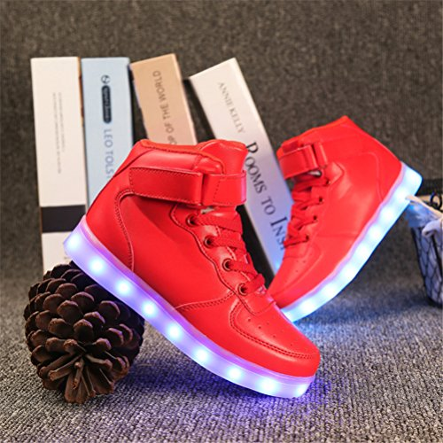UBFen Chaussures LED Lumineuses Enfant Adulte Montantes 7 Couleur USB Charge Chaussure Lumineuse Clignotant Lumineux Lumière Sports Baskets Garcon Fille Homme Femme Rouge