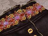 Sojoco Hunde Wintermantel, Glattleder-/Lammfellimitat in dunkelbraun, mit 5 cm breiter handbestickter Pailletten/Perlen/Borte, Rückenlänge: ca. 48 cm, Größe: L/XL