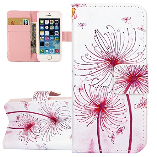 Hülle für iPhone SE, Tasche für iPhone 5 5S, Case Cover für iPhone 5 5S SE, ISAKEN Malerei Muster Folio PU Leder Flip Cover Brieftasche Geldbörse Wallet Case Ledertasche Handyhülle Tasche Case Schutzh Löwenzahn Blume
