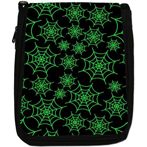 Spider web media per cavalli da sella, colore: nero, Borsa a spalla in tela da uomo, taglia media Green Spider Cobwebs