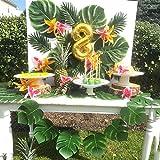 FEPITO 40 STÜCKE Künstliche Tropische Blätter Grüne Palme Monstera Blätter für Luau Hawaiian Party Dekorationen, Safari Dschungel Strand Tropical Party Dekorationen Liefert (2 Arten) - 3