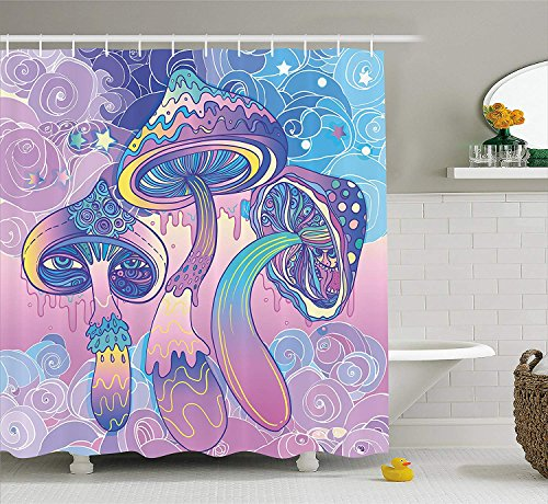 KCOUU Mushroom Shower Curtain By Trippy Drawing Hippie Decor Sixties Visionary Psychedelic Shamanic Fabric