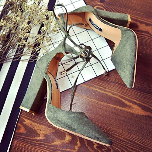 Minetom Femme Eté Élégant Sandales à Talons Peu Profondes Bouche Suède Sandals Lacets Nœud Cheville Enroulé Talons Hauts Chaussures Vert