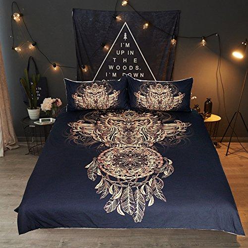 Faux Twin-set (sleepwish Eule Traumfänger Betten Tribal Dream Catcher Bettbezug 3Stück Faux Gold Glitzer Schwarz Bettwäsche-Set, Polyester-Mischgewebe, goldfarben, Twin)