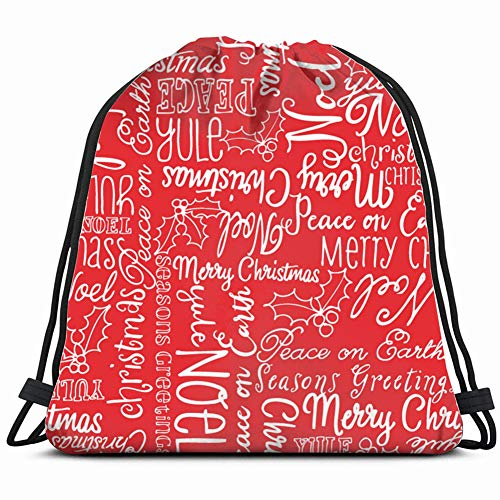 khgkhgfkgfk Christmas Words Holly Holidays Miscellaneous Drawstring Backpack Gym Sack Lightweight Bag Water Resistant Gym Backpack for Women&Men for Sports,Travelling,Hiking,Camping,Shopping Yoga -