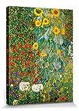 1art1 60770 Gustav Klimt - Bauerngarten Mit Sonnenblumen, 1905-06 Poster Leinwandbild Auf Keilrahmen 80 x 60 cm