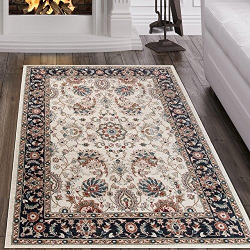 Tapiso tappeto dubai salotto orientale | colore crema nero | bordatura disegno tradizionale persiano | facile da pulire | migliore qualità 140 x 200 cm