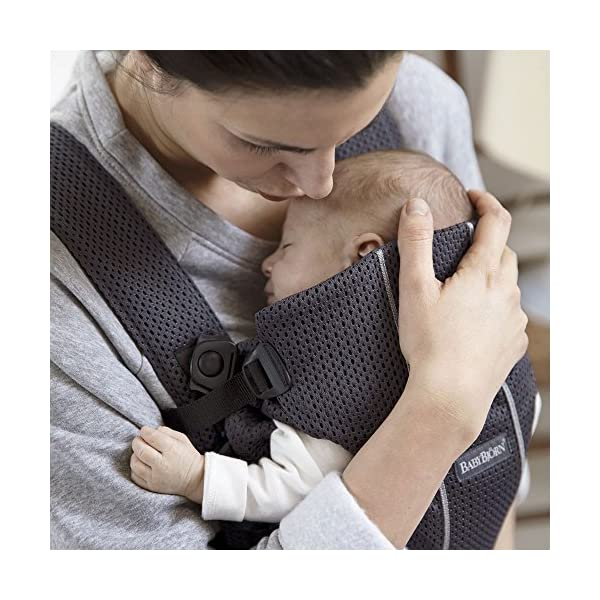 BABYBJÖRN Baby Carrier Mini, 3D Mesh, Anthracite Baby Bjorn Perfect first baby carrier for a newborn Small and easy to use 3D Mesh - Cool and airy mesh fabric, with an incredibly soft inner layer next to your newborn's skin 4