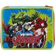 Seven Avengers 339011604-519 Astuccio Maxi da Scuola, Poliestere, Blu - 12 Di Plastica Trasparente Righello