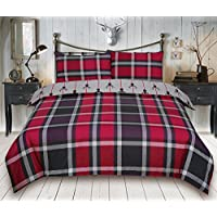 Todd Linens Check Stag Reversible Quilt Duvet Cover Set Premium Quality (Double, Maroon)