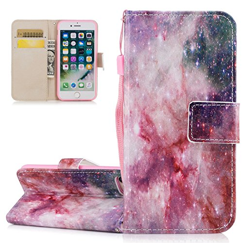 Custodia iPhone 7, Cover iPhone 7, ISAKEN Flip Cover per Apple iPhone 7, Elegante borsa Bookstyle Design Flip Caso in Sintetica Ecopelle PU Pelle Protettiva Portafoglio Wallet Case Cover con Supporto  Universo