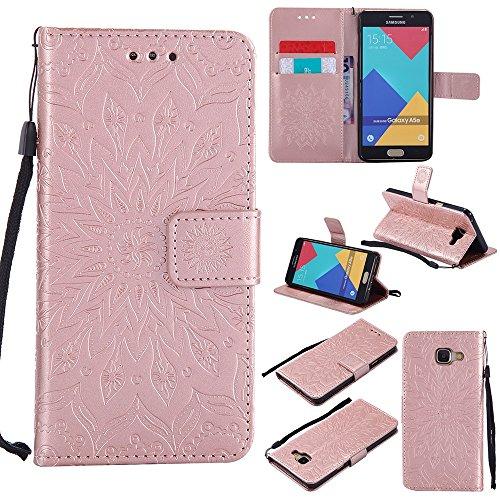 Für Samsung Galaxy A510 Fall, Prägen Sonnenblume Magnetische Muster Premium Soft PU Leder Brieftasche Stand Case Cover mit Lanyard & Halter & Card Slots ( Color : Blue ) Rose Gold
