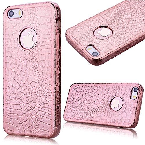 GrandEver Gel Silicone Custodia per iPhone 5/5S/SE,Alta Qualità Coccodrillo Pelle Morbido TPU Back Cover Bumper,UltraSlim Flexible Soft Protettiva Coprire - Rasa