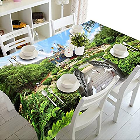 Dbtxwd Tablecloth 3D Cartoon castle Polyester Digital printing Dust-proof Table Top Cover Kitchen Rectangular Dinner Picnic Decorative Various Sizes ,